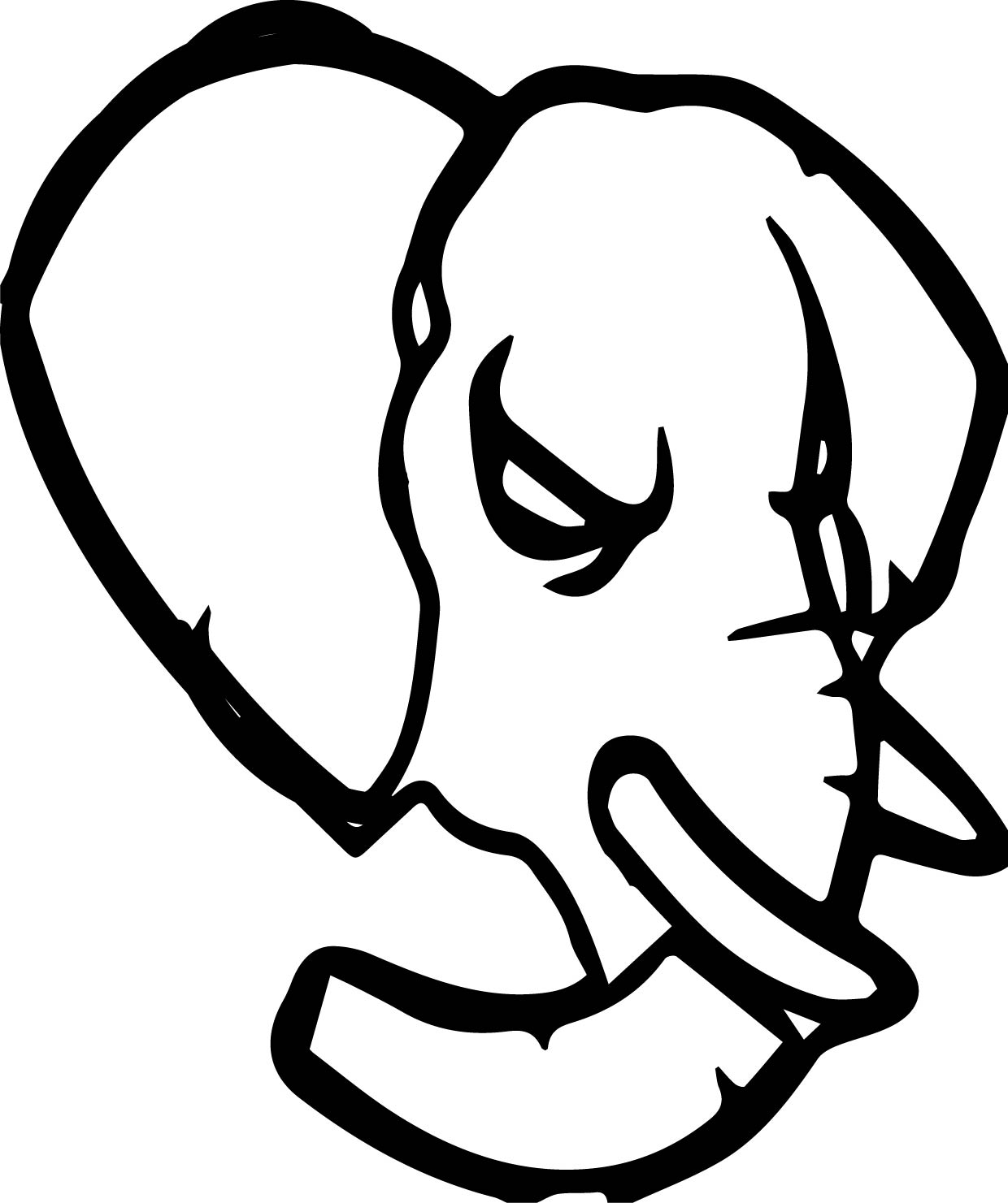Elephant Angry Head Coloring Page