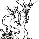 Elephant Birthday Balloon Coloring Page