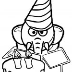 Elephant Birthday Suprise Coloring Page