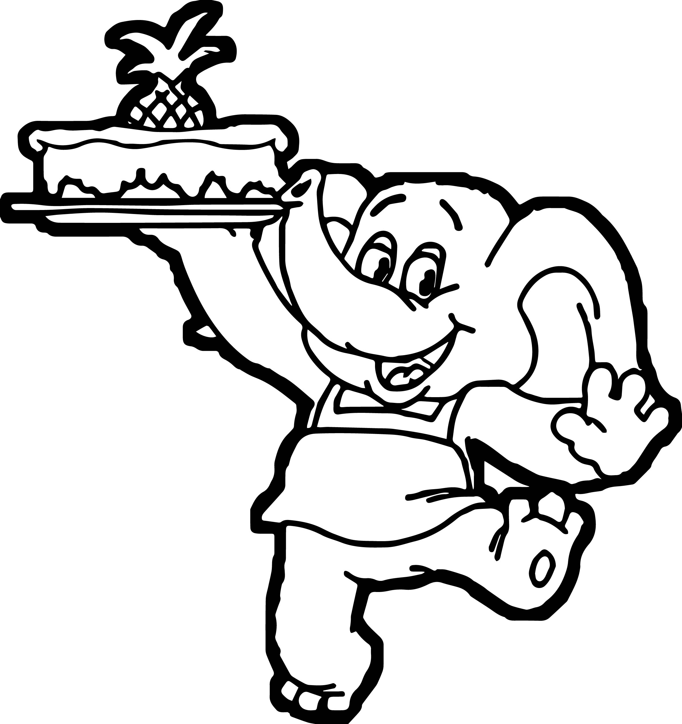 Elephant Coming Cake Coloring Page