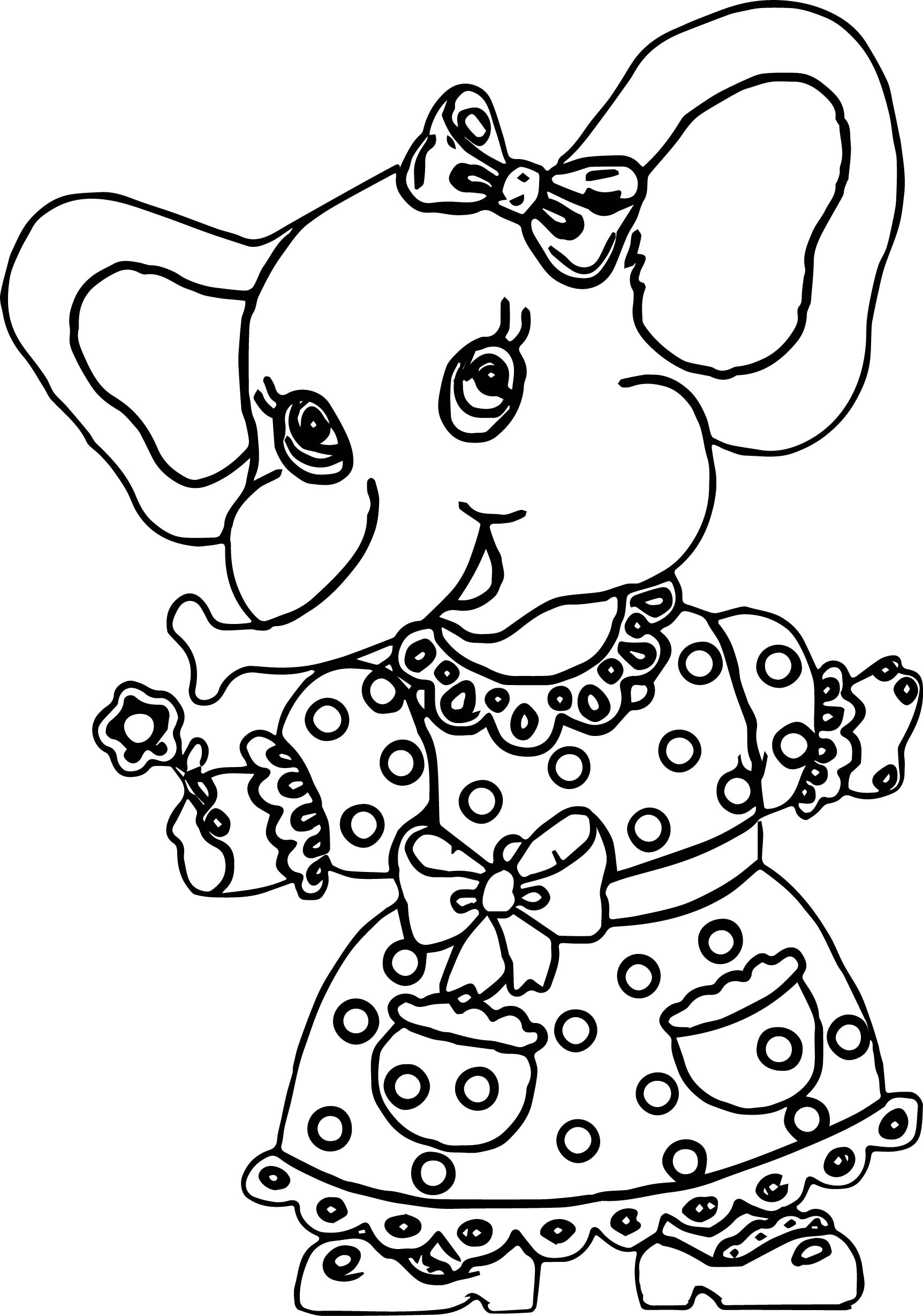 Elephant Girl Dress Coloring Page | Wecoloringpage