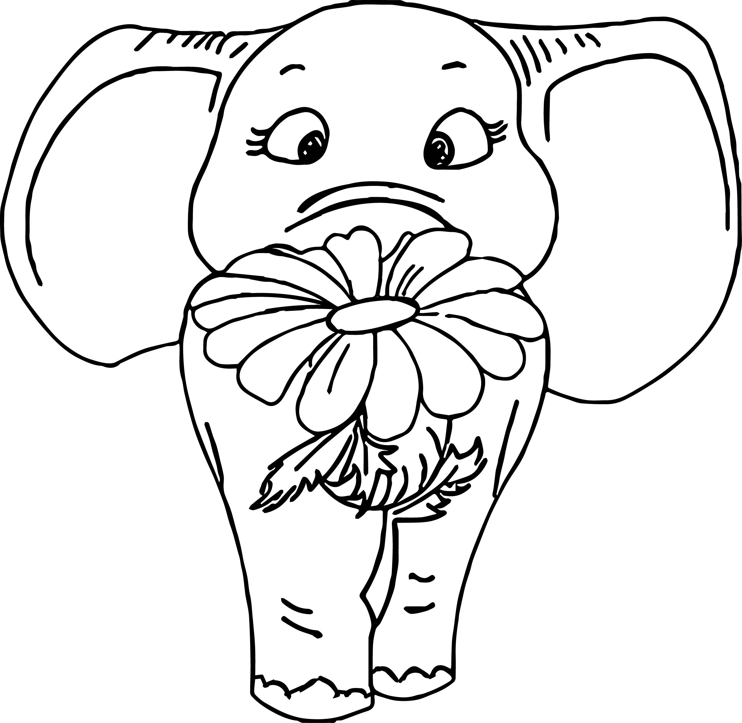 Elephant Give Flower Coloring Page