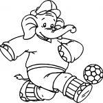 Elephant Kick Ball Coloring Page