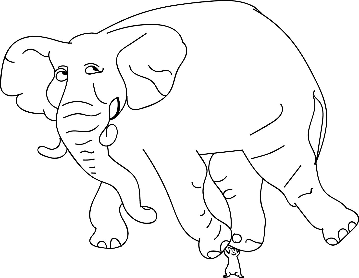 Elephant Mouse Power Coloring Page