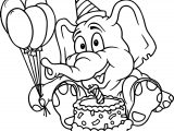 Elephant Party Cake Birthday Coloring Page