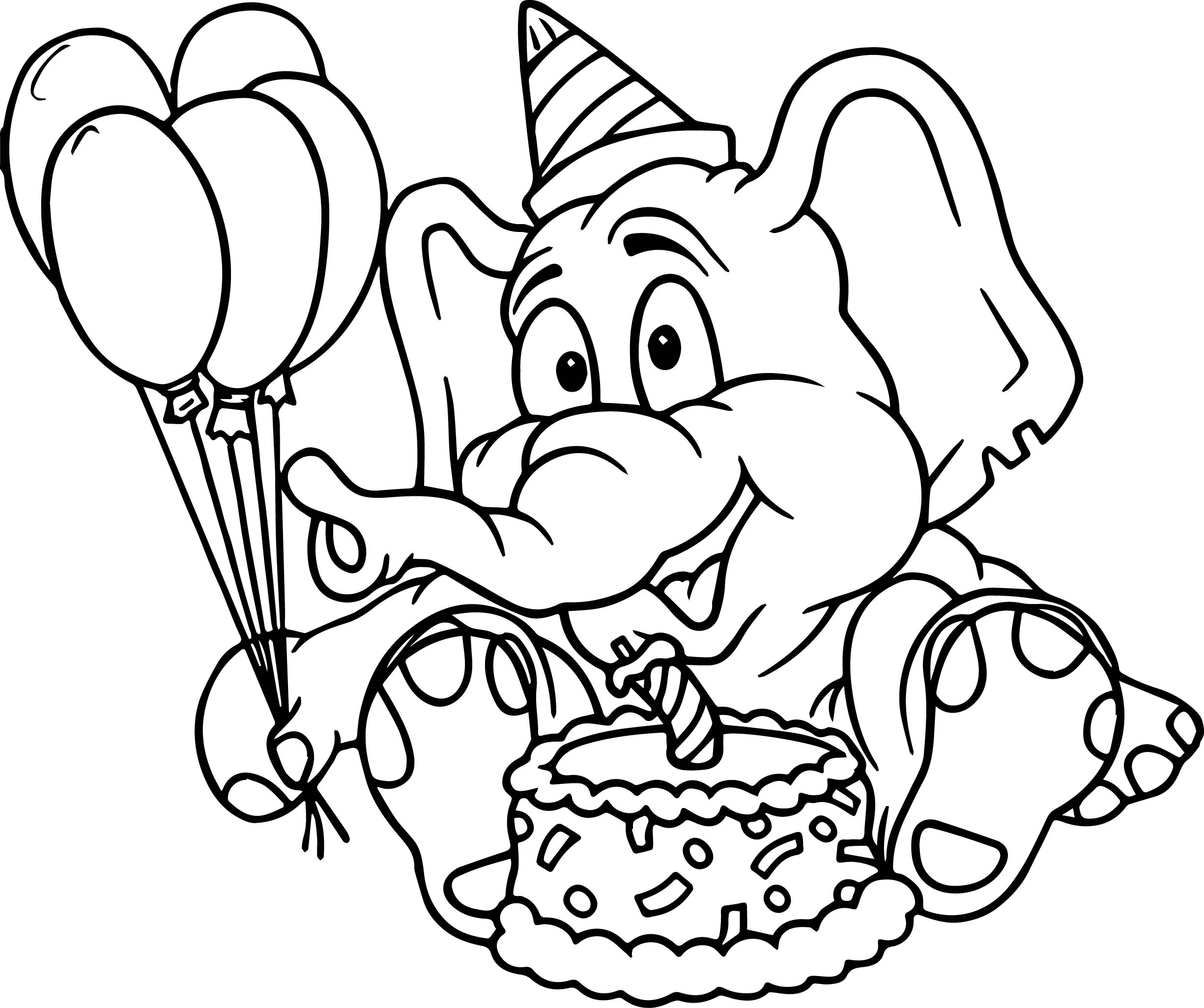 Elephant Party Cake Birthday Coloring Page | Wecoloringpage.com