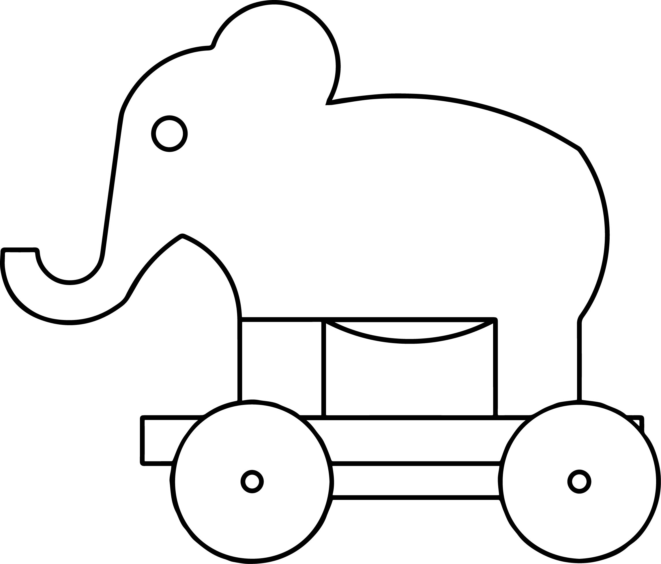 Elephant Pullalong Coloring Page