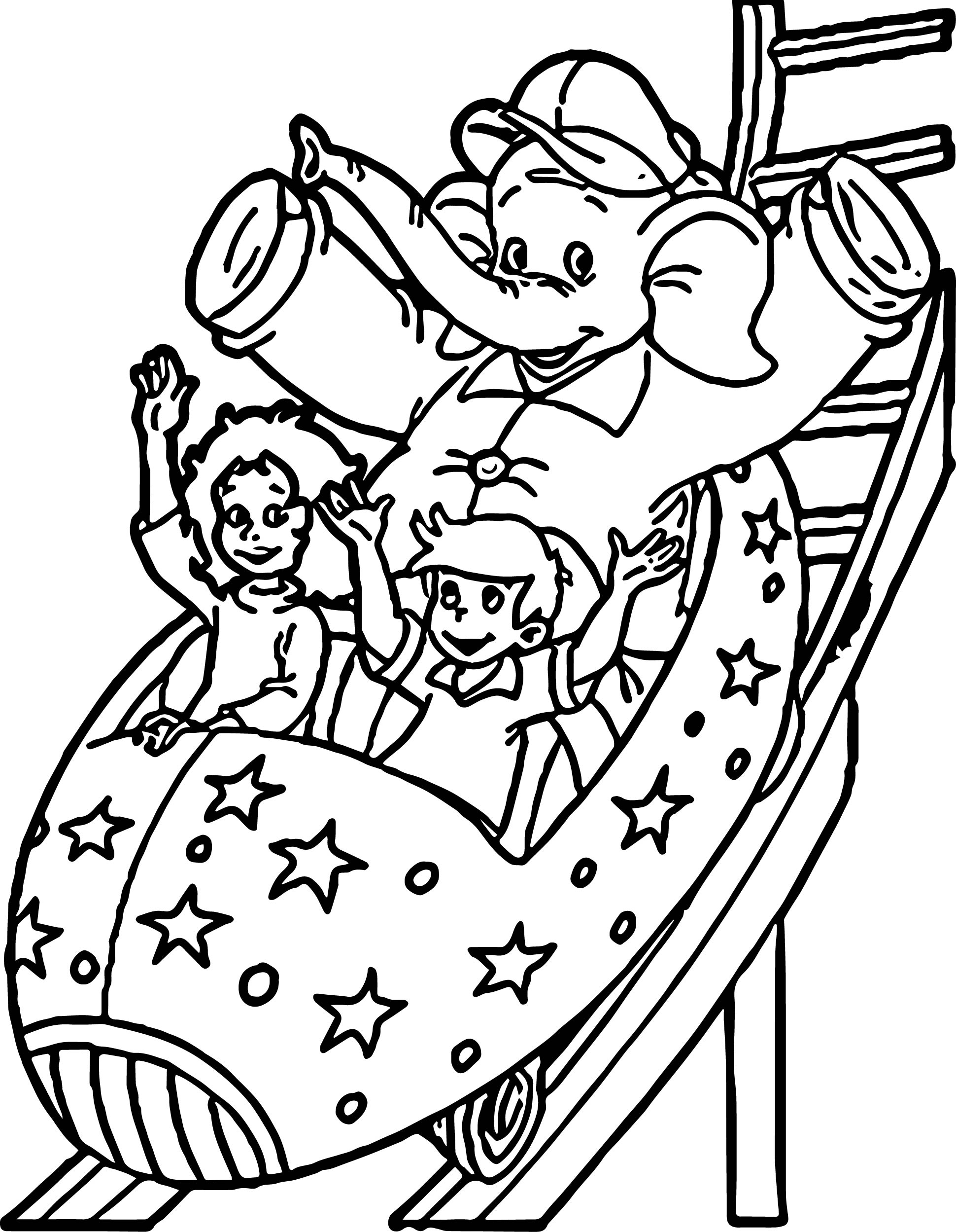 Elephant Rally Park Coloring Page