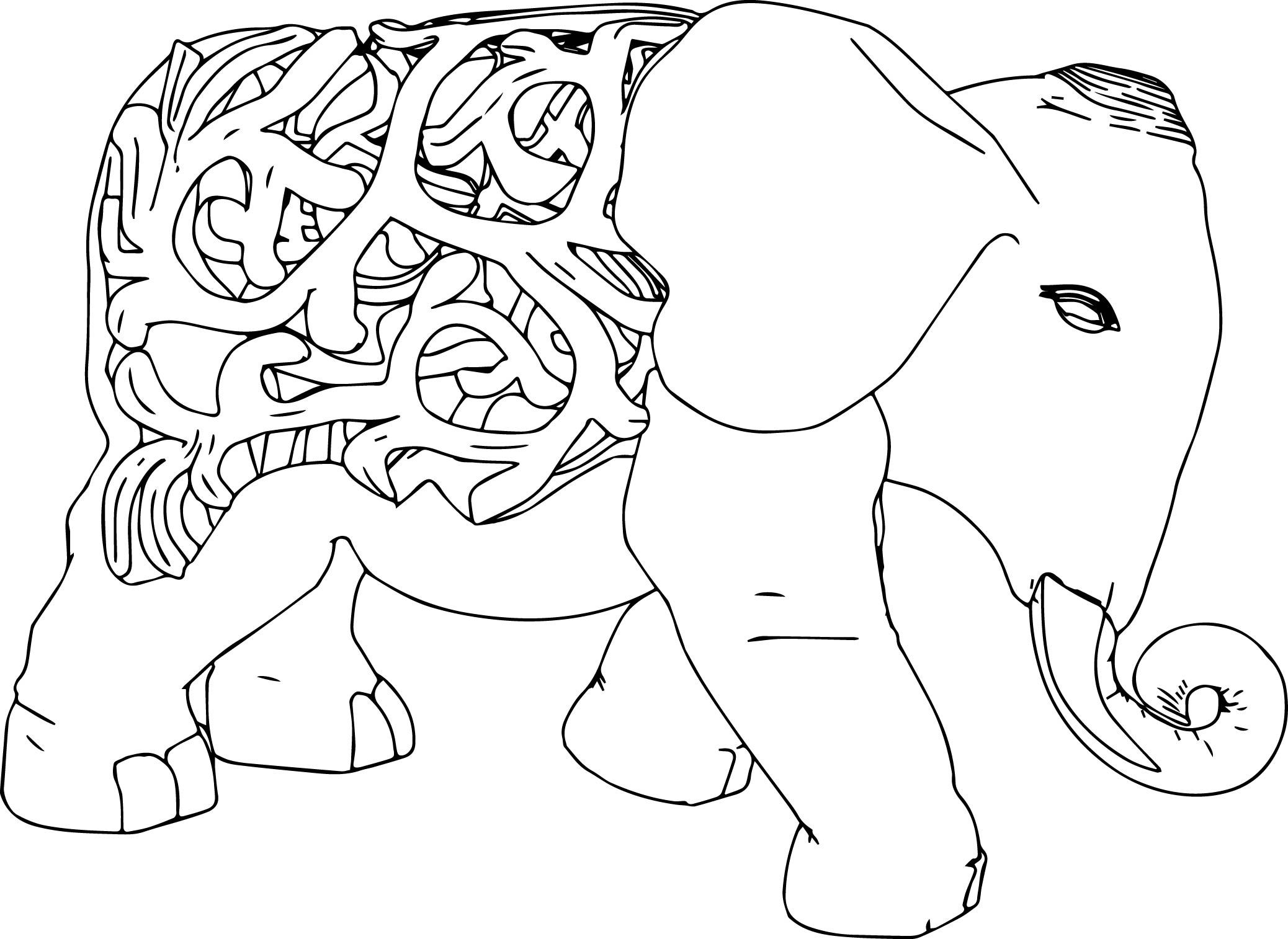 Elephant Shape Coloring Page