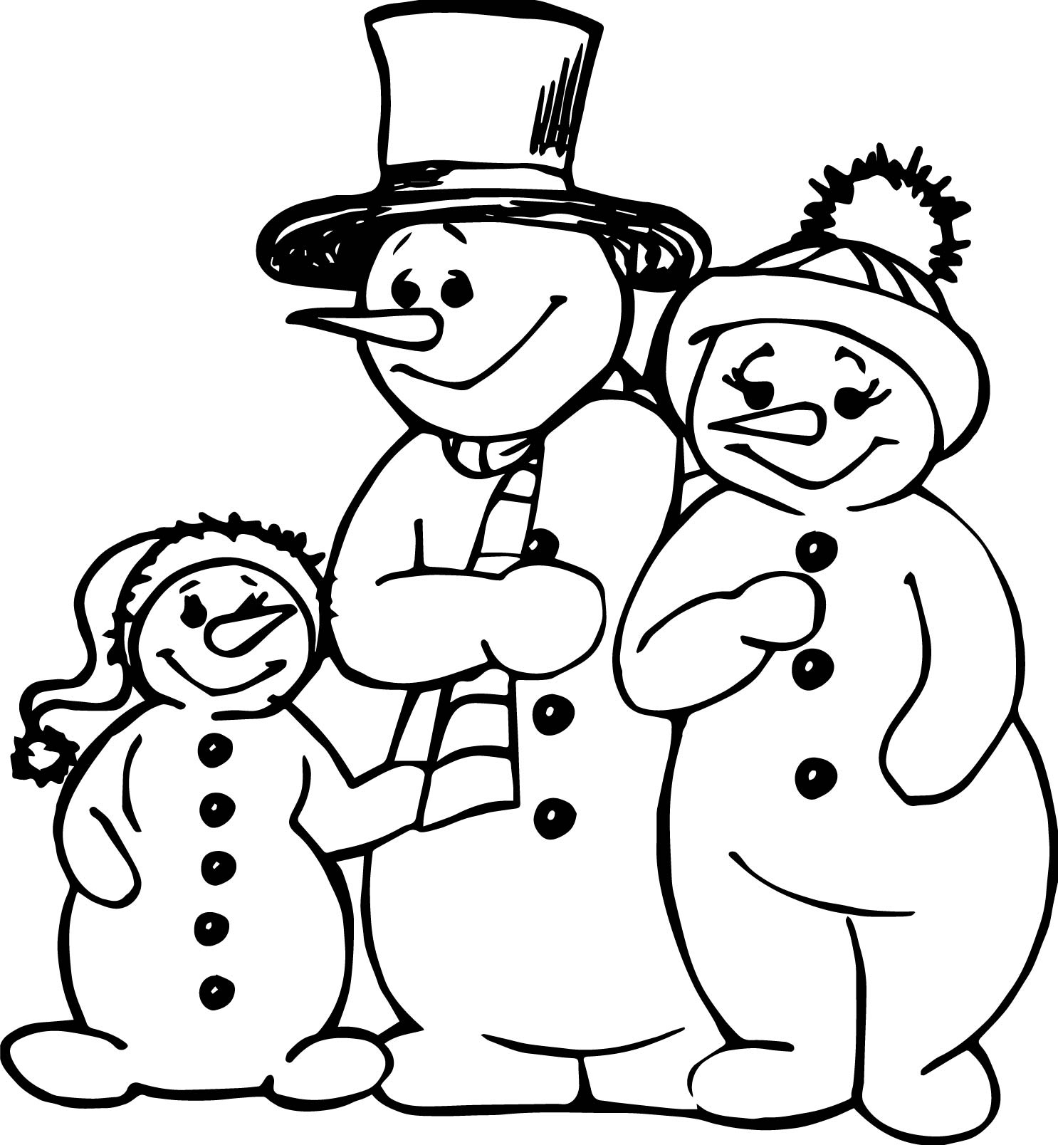Family people snowman family coloring page for Free coloring pages snowman
