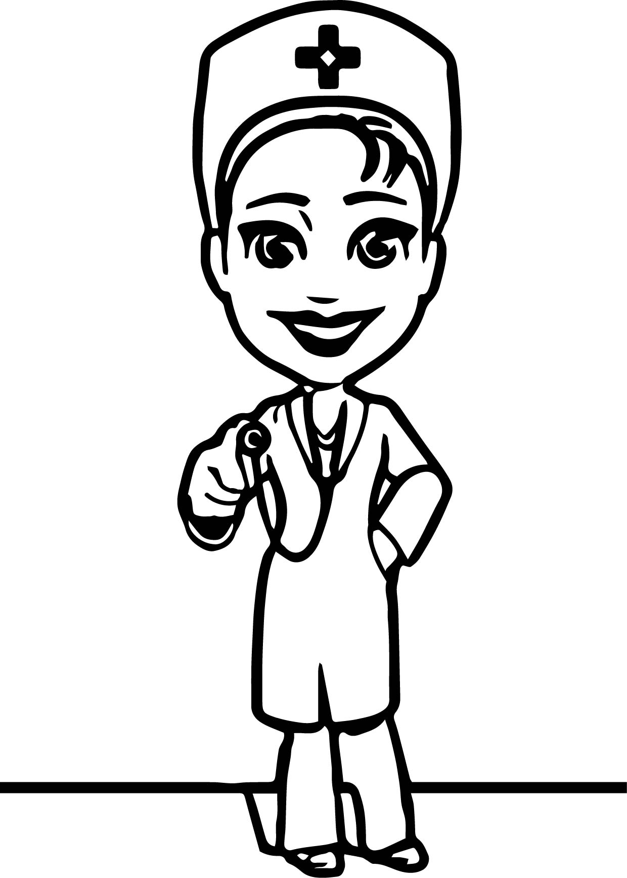 Female Doctor Character Coloring Page