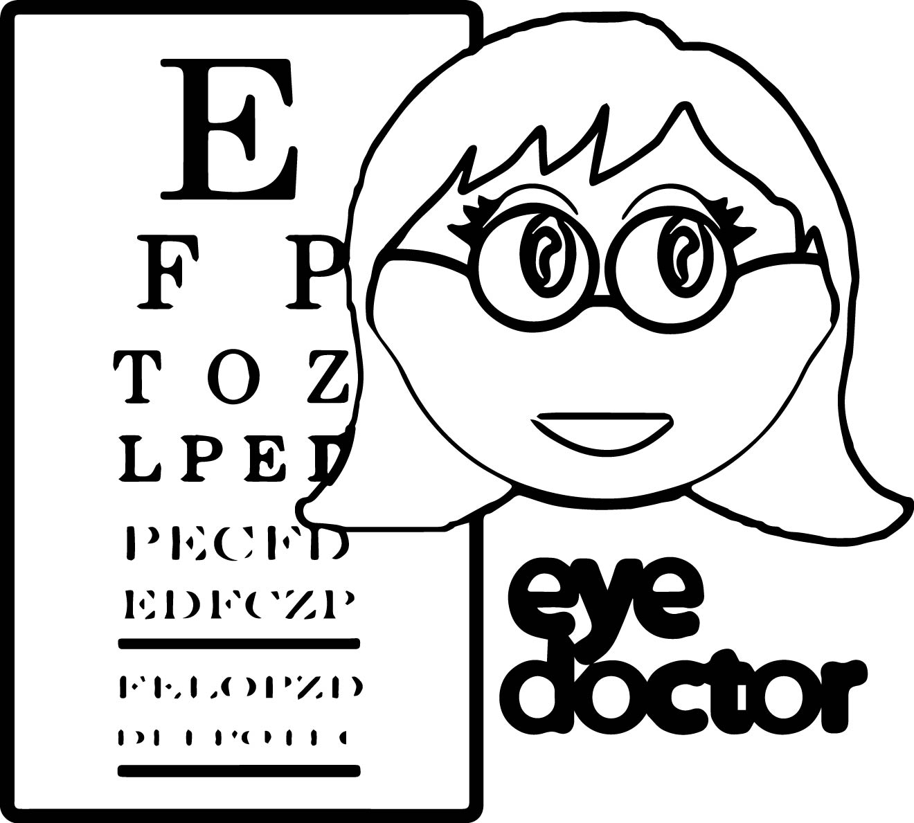 Female Optometrist Coloring Page