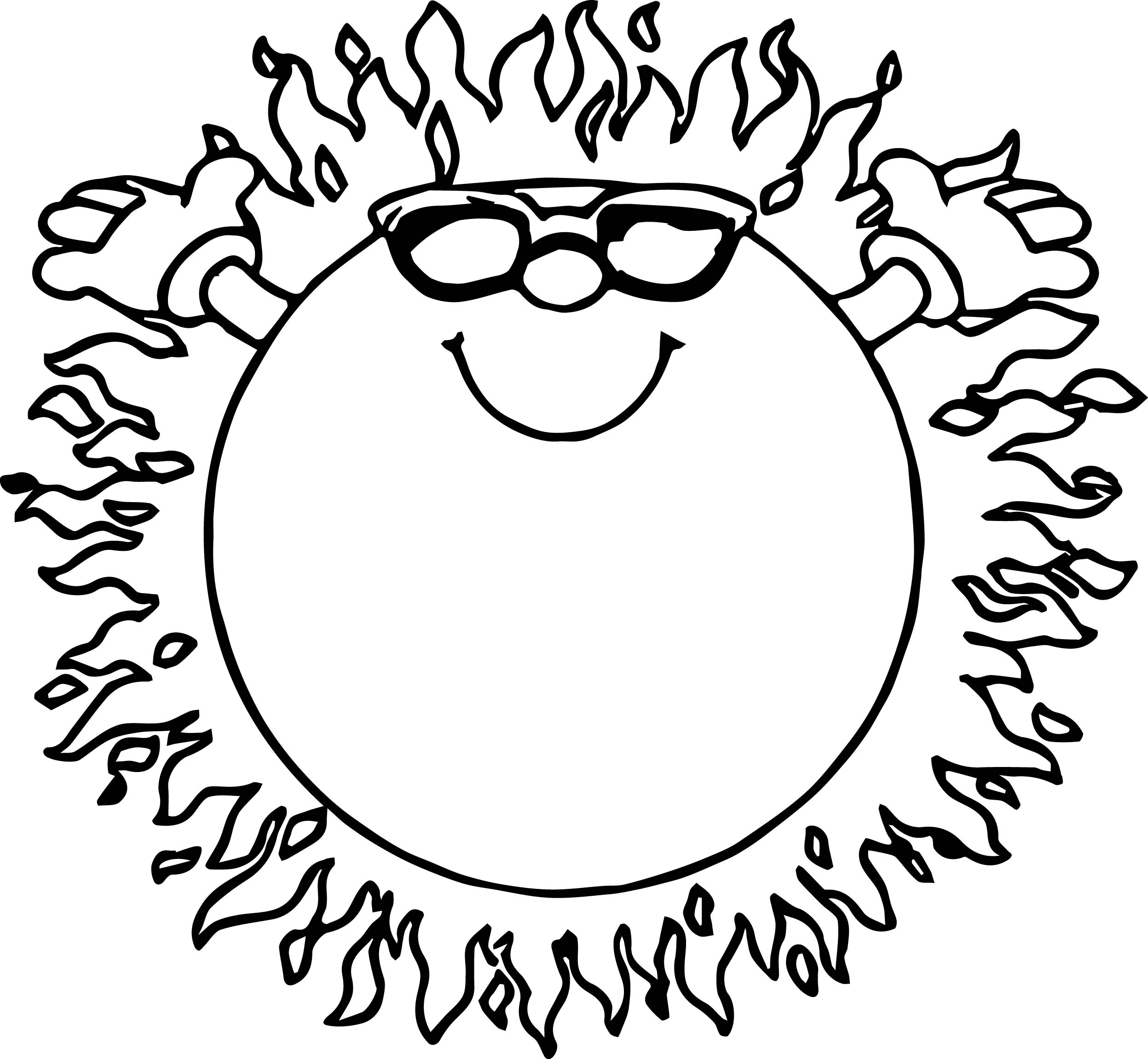 coloring pages sun - fire summer sun coloring page