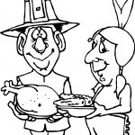 First Thanksgiving Pilgrim Indian Turkey Corn Coloring Page
