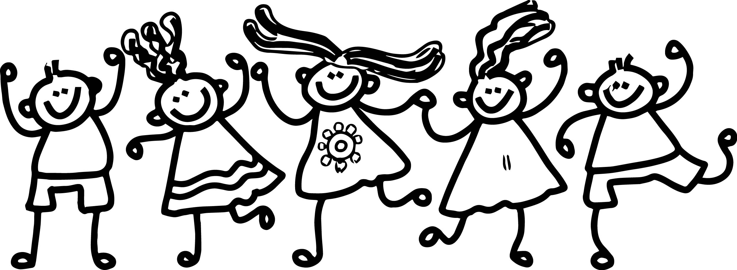 Five Children Summer Coloring Page