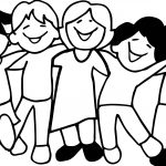 Five Kids Friendship Coloring Page