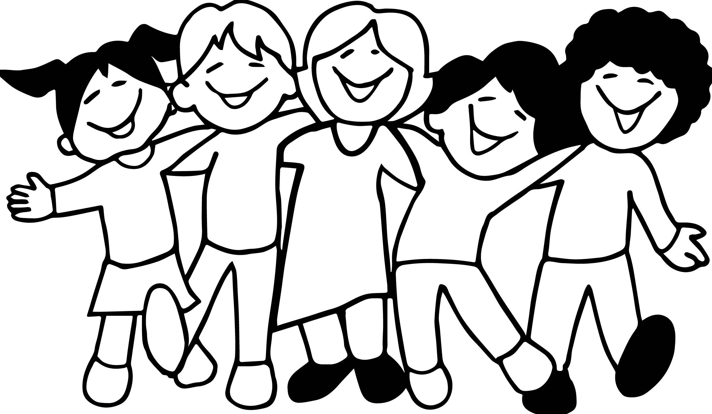 Five Kids Friendship Coloring Page | Wecoloringpage.com