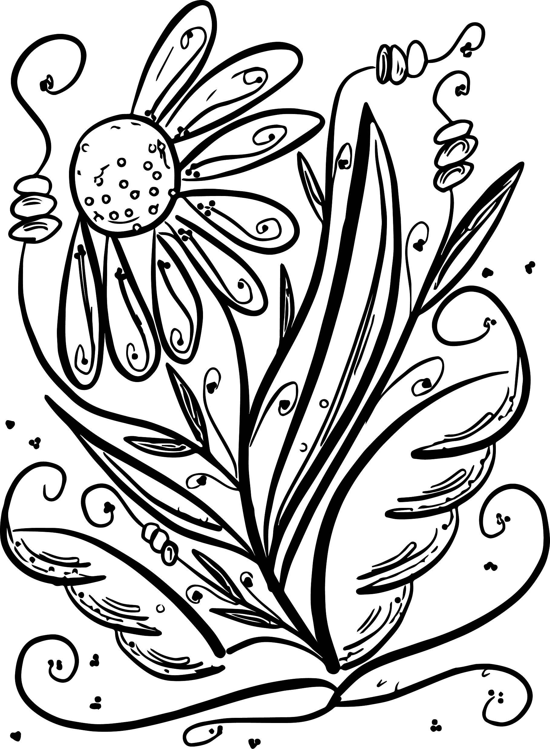 Floral Summer Flower Coloring Page