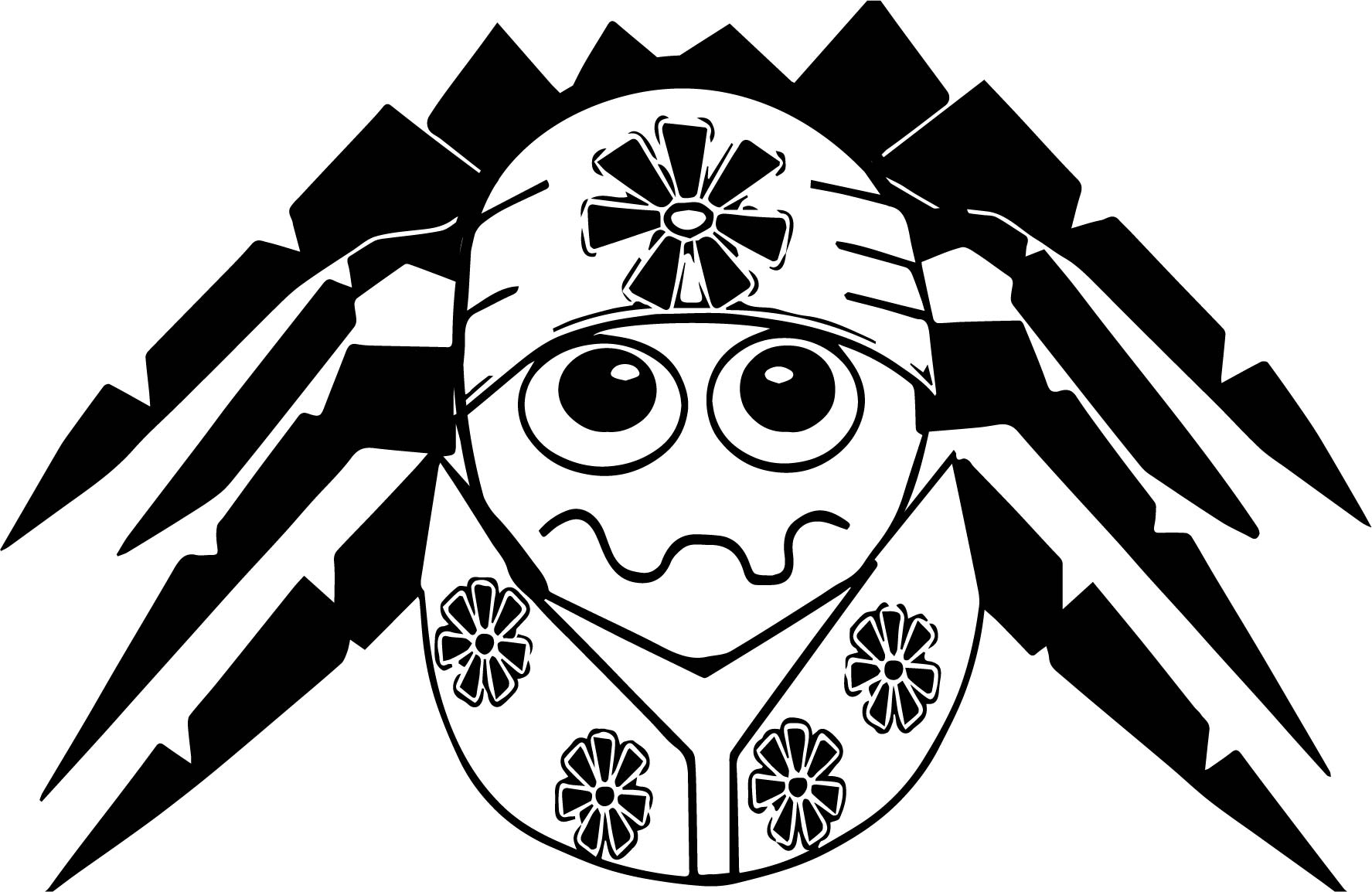 Flower anansi coloring page for Anansi the spider coloring pages
