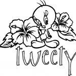 Flower Back Tweety Coloring Page