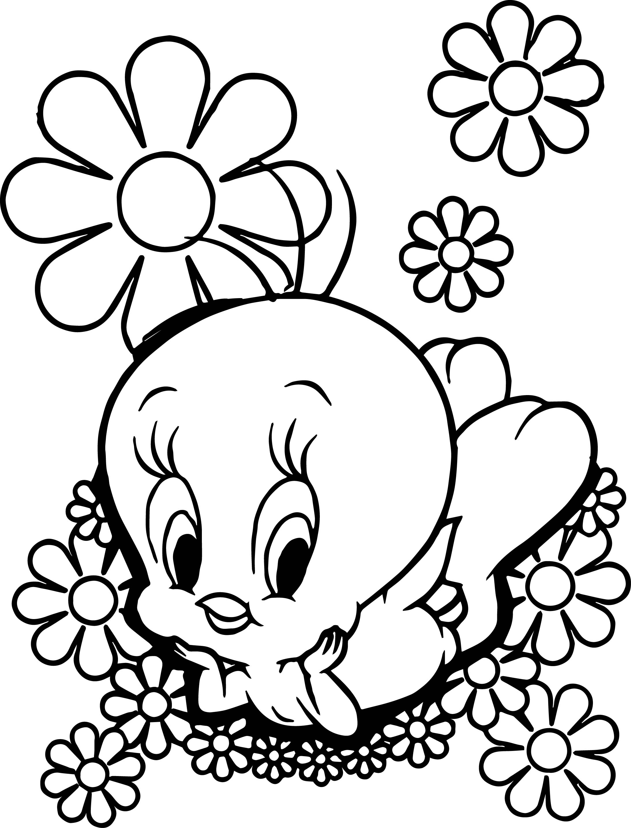 Flower Tweety Coloring Pages