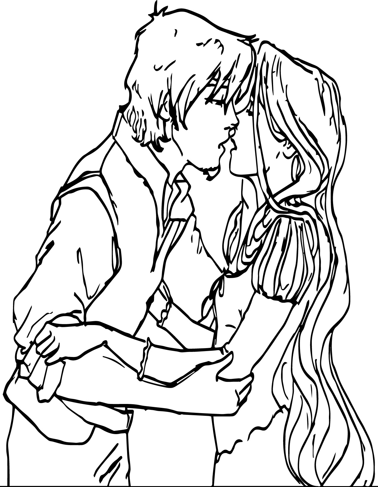 Kiss Coloring Pages Flynn And Rapunzel Kiss Coloring Page  Wecoloringpage
