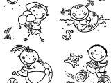 Four Kids Summer Coloring Page