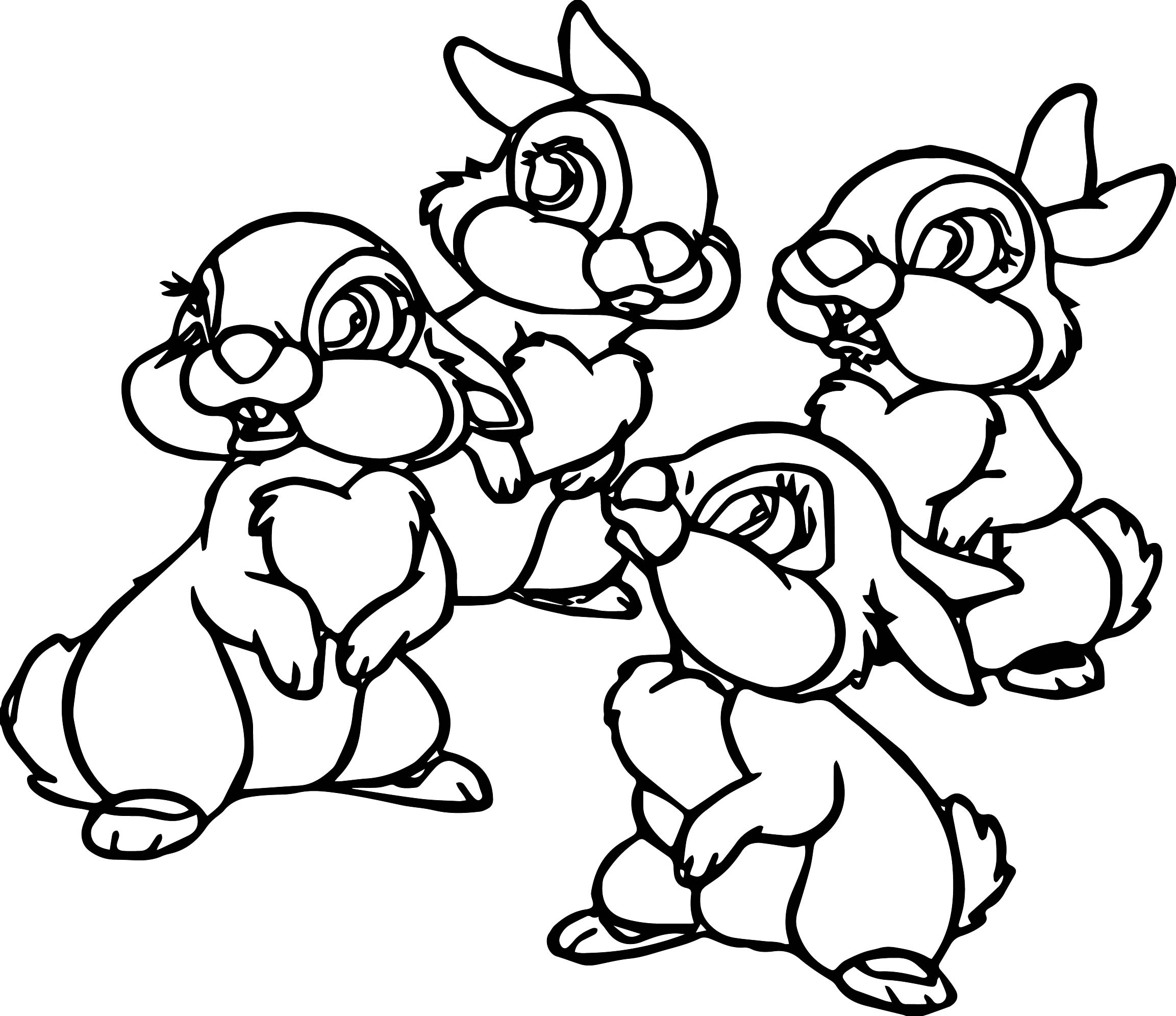 four thumper thumpers sisters and miss bunny coloring pages