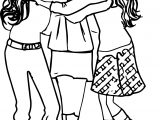 Friendship Three Girl Friends Coloring Page