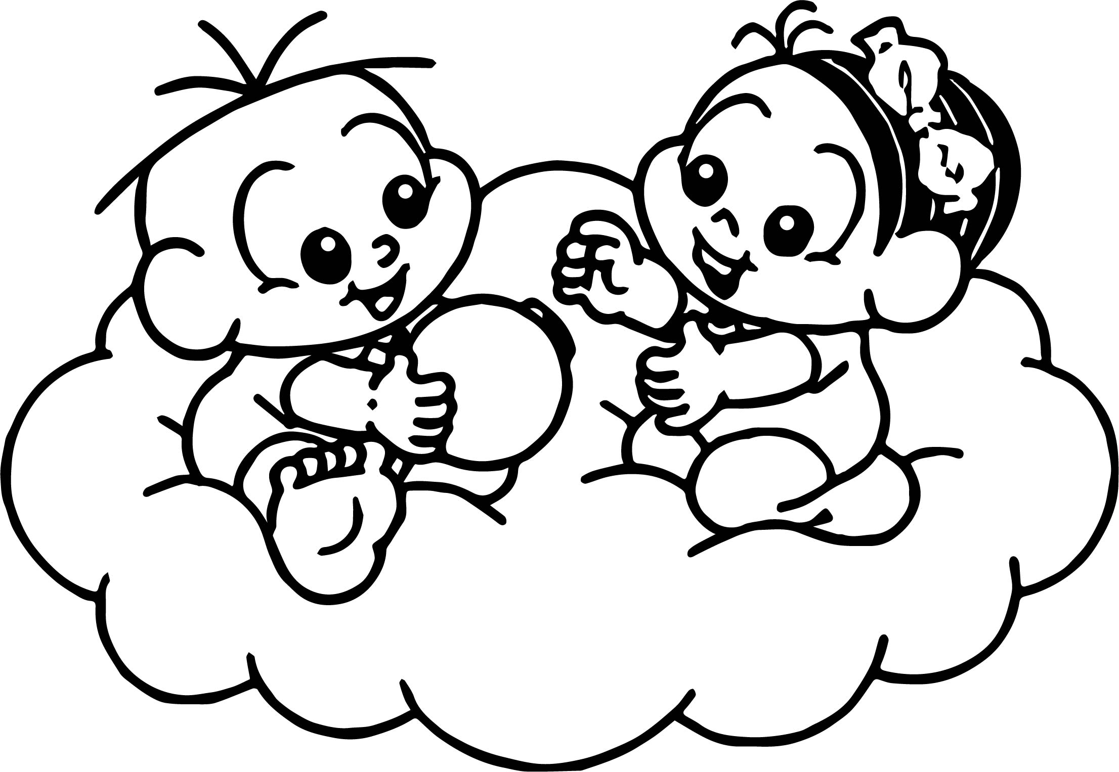 Game Of Monica To Paint Baby On Cloud Coloring Page