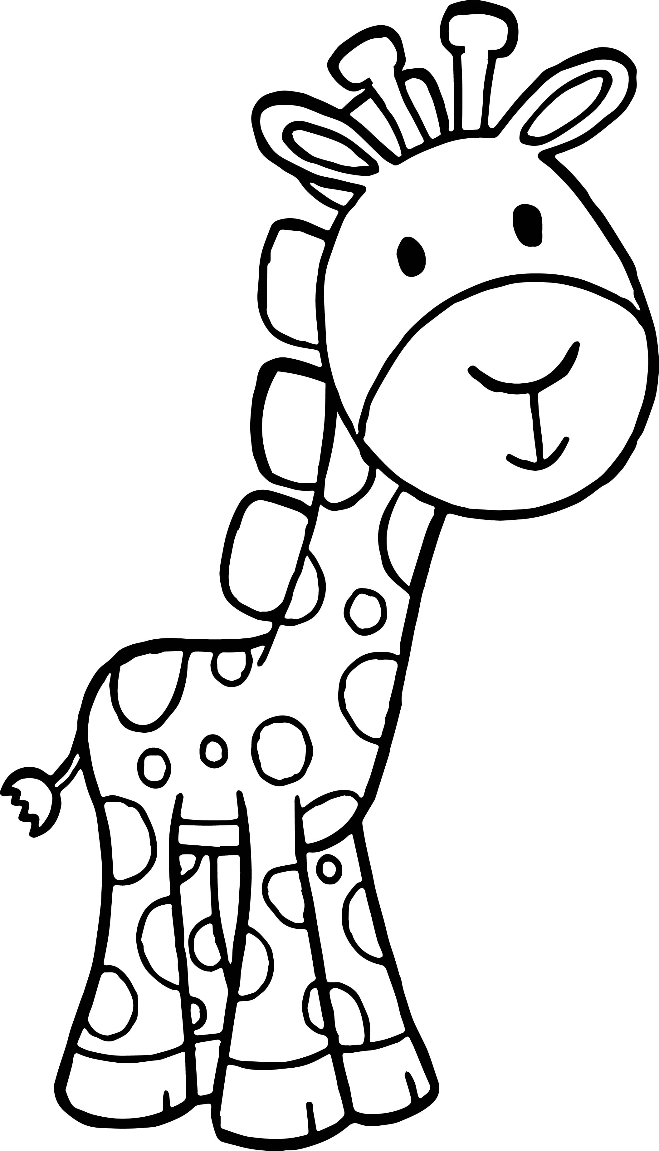 Giraffe Cartoon Free Kids Beautiful Coloring Page