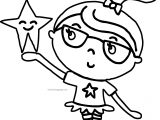 Girl And Star Coloring Page