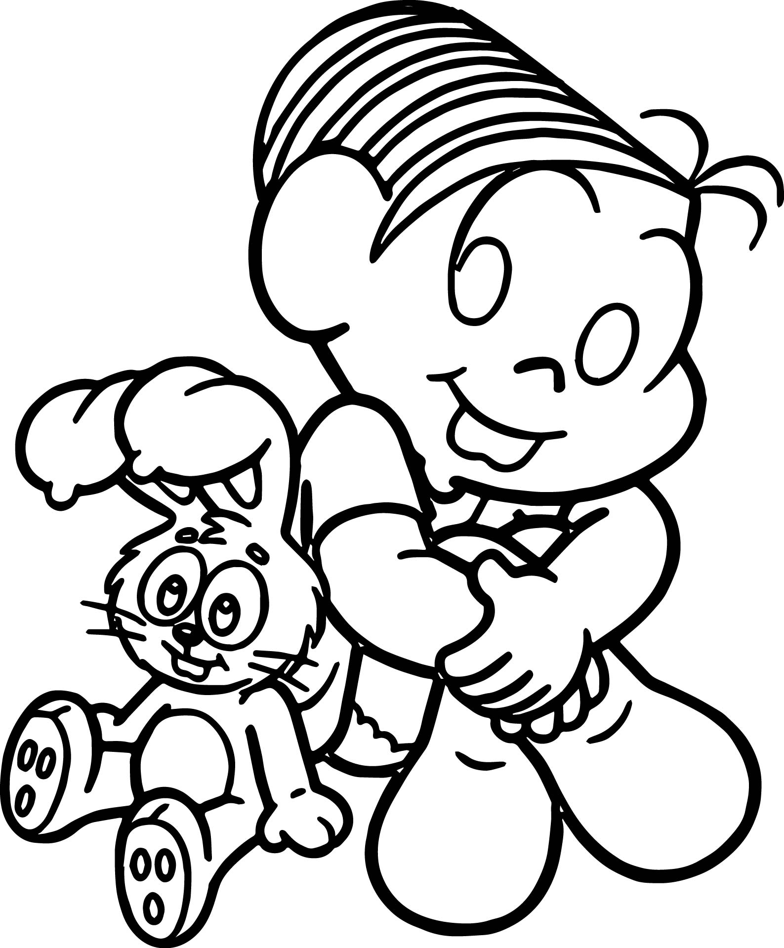 Girl Monica And Toy Bunny Cute Coloring Page
