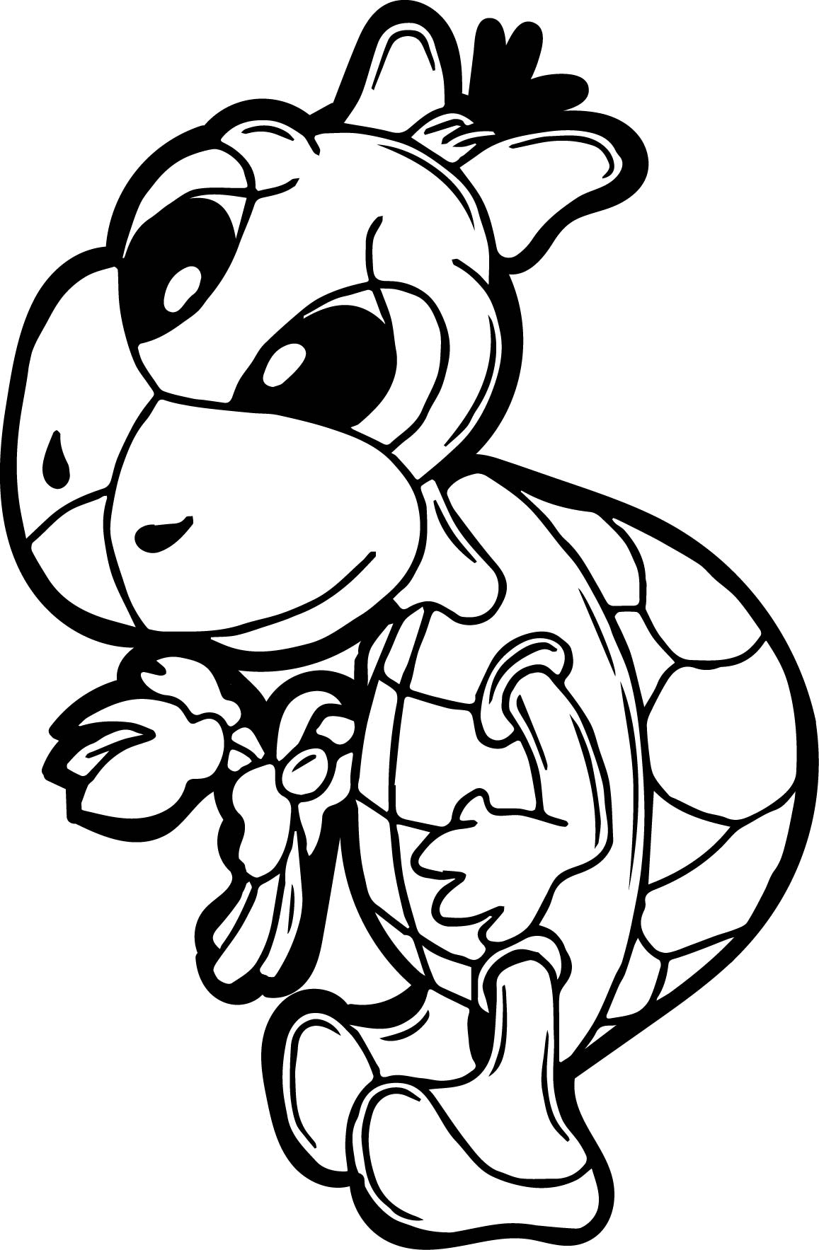 Girl Tortoise Turtle Coloring Page