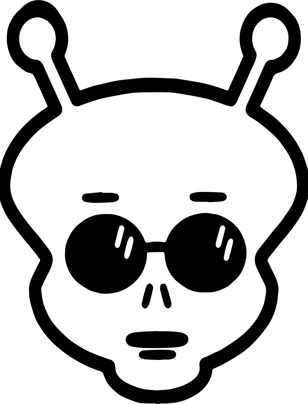 Glasses Alien Face Coloring Page