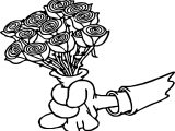 Hand Give Roses Coloring Page