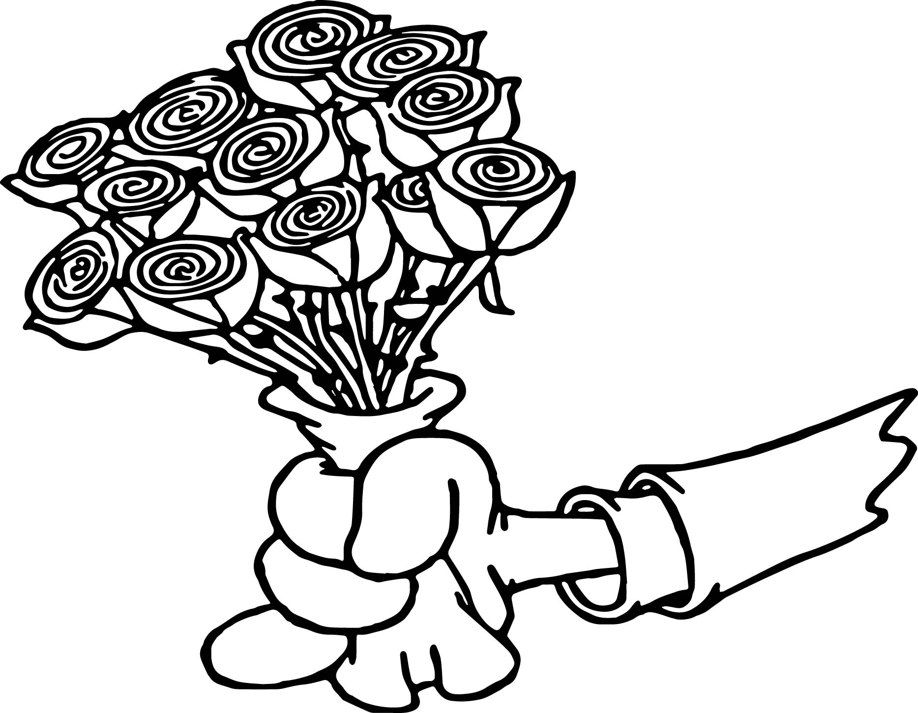 Hand give roses coloring page for Giving coloring pages