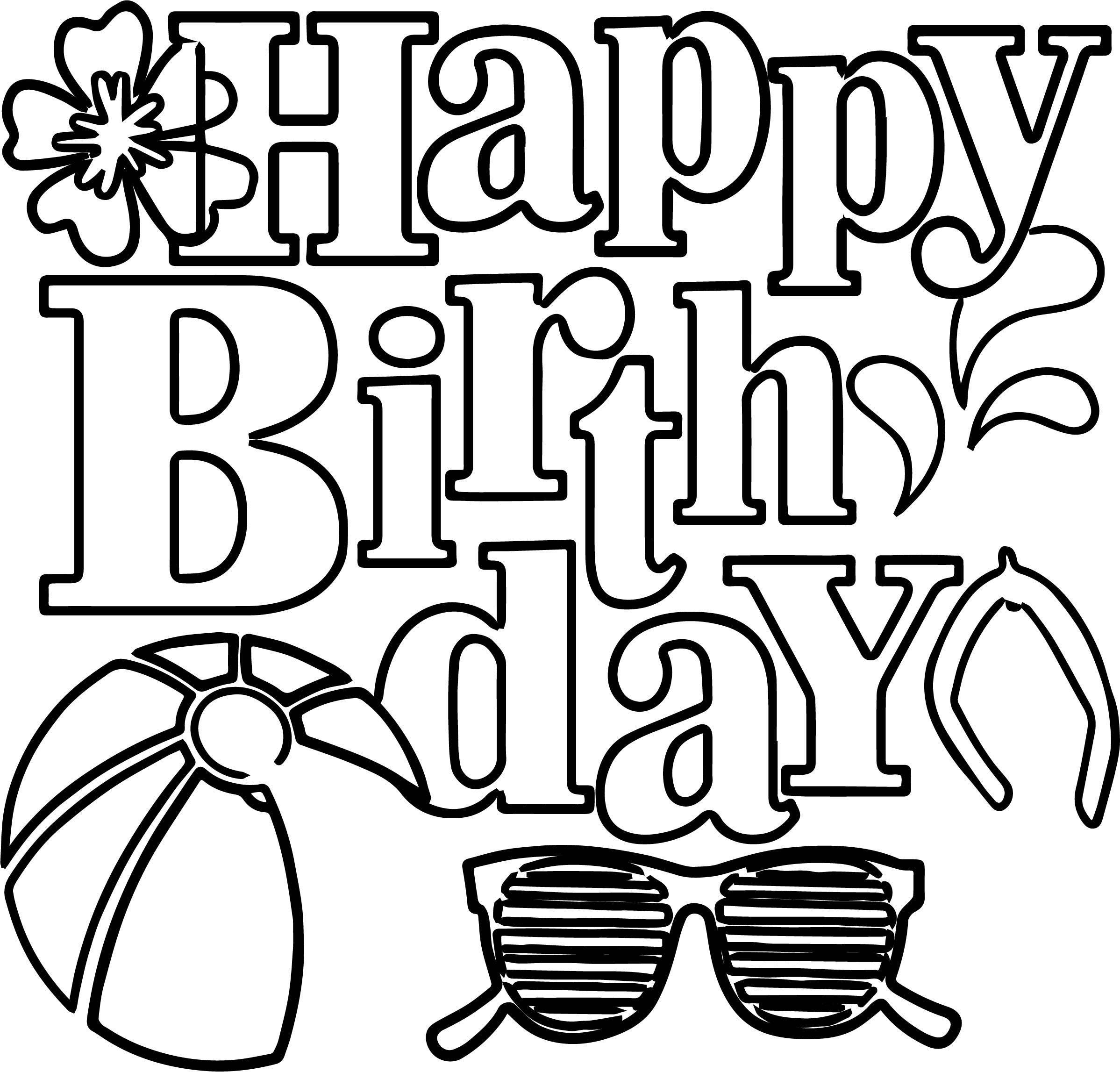 happy birthday summer coloring page wecoloringpage