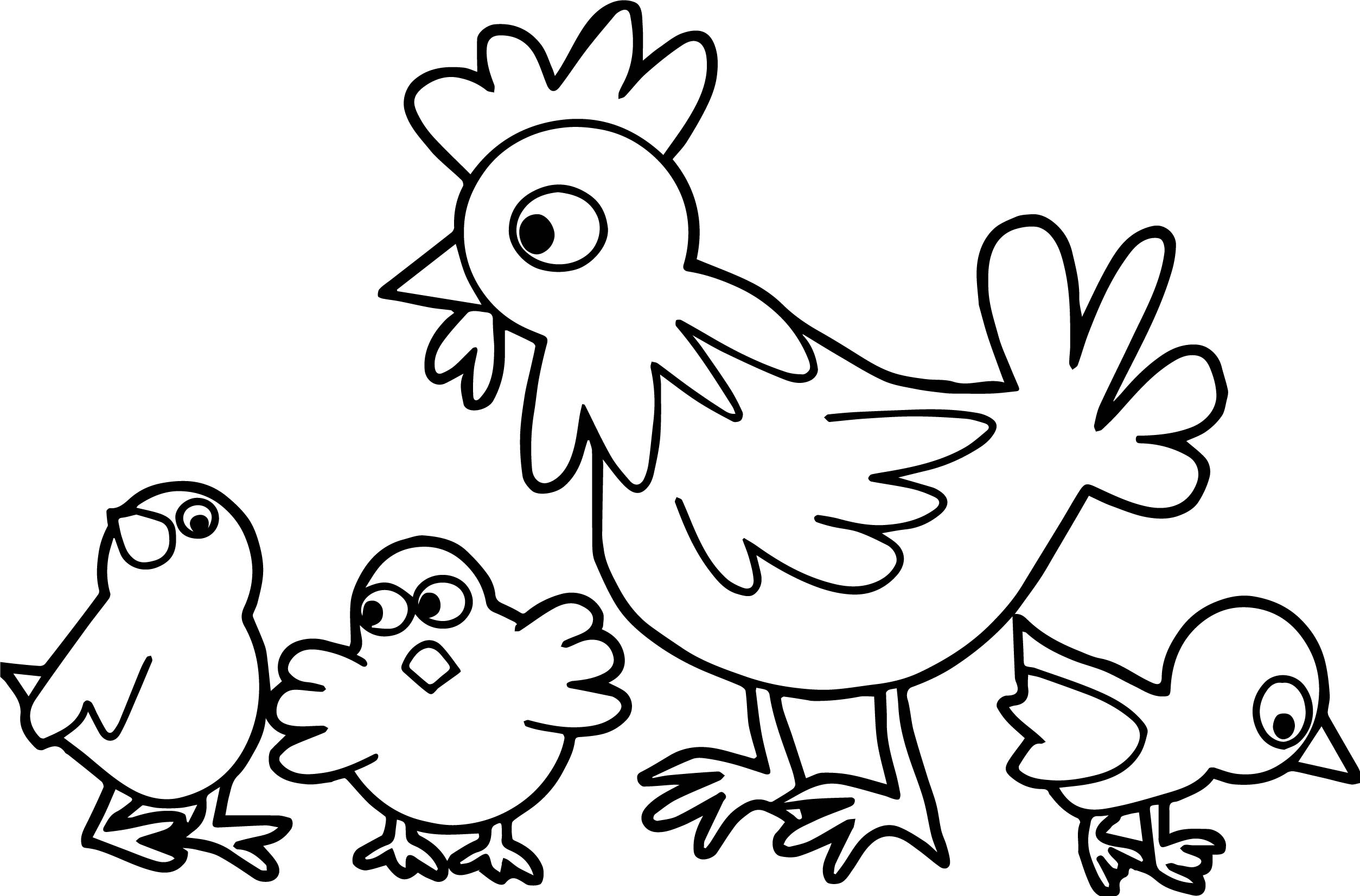 Hen With Three Chicks Design Family Coloring Page