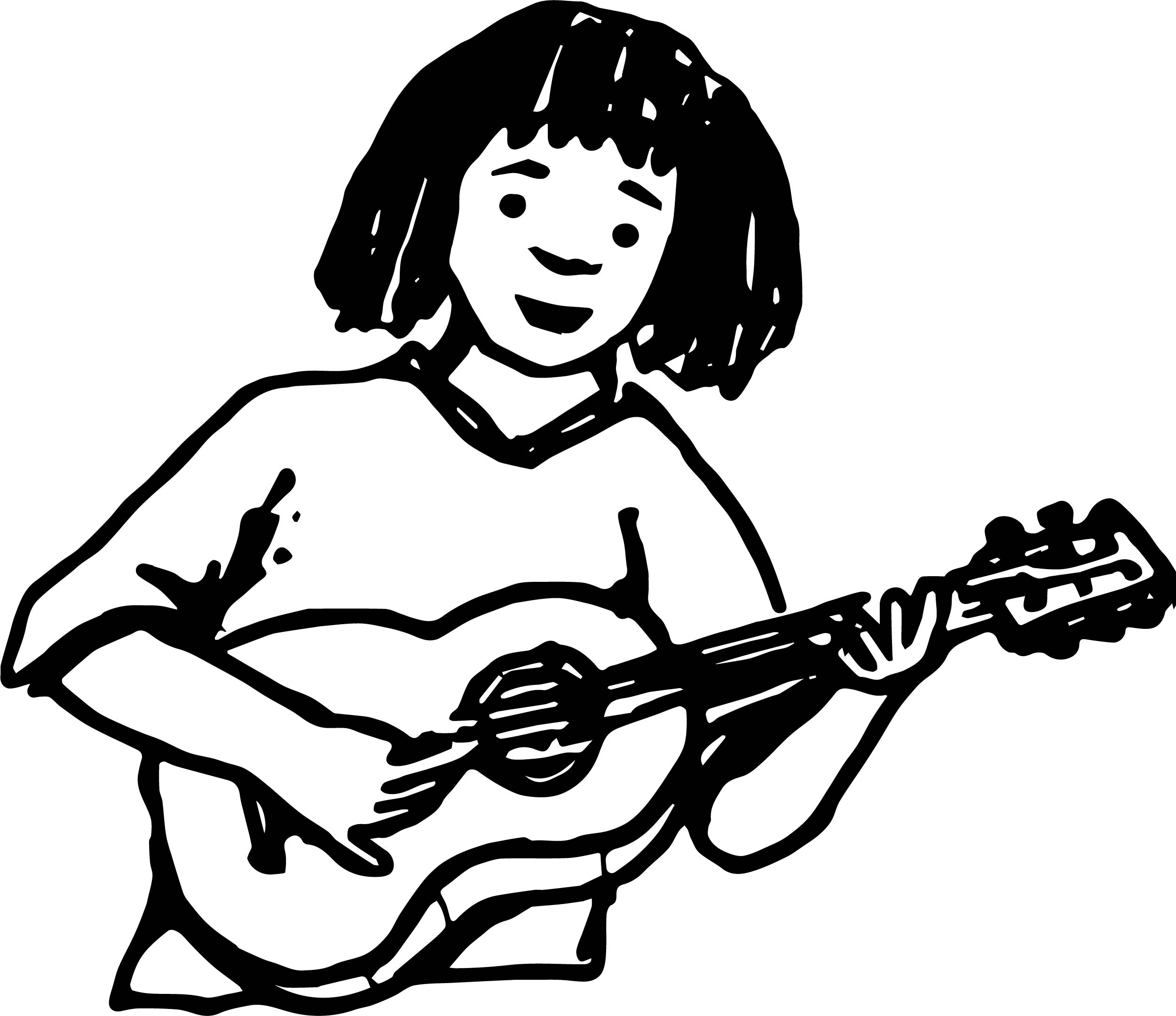 Hobby Guitar Player Color Playing The Guitar Coloring Page - Guitar-player-coloring-page