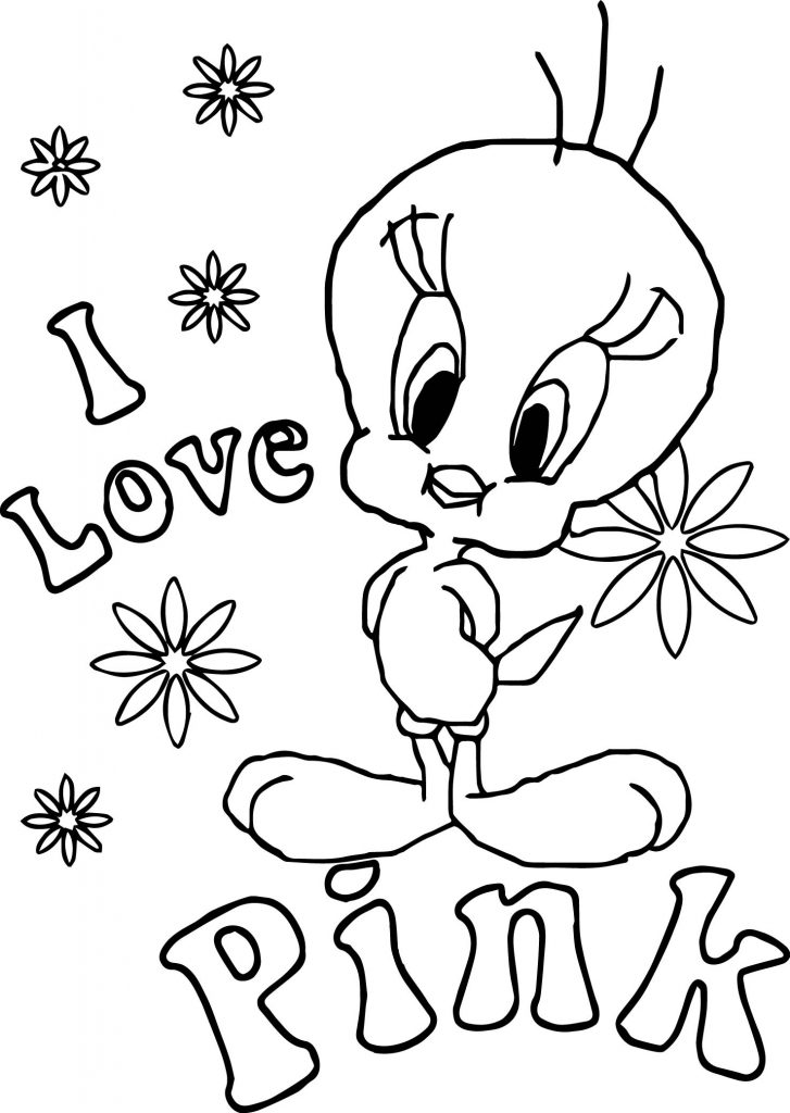 i love pink tweety coloring page