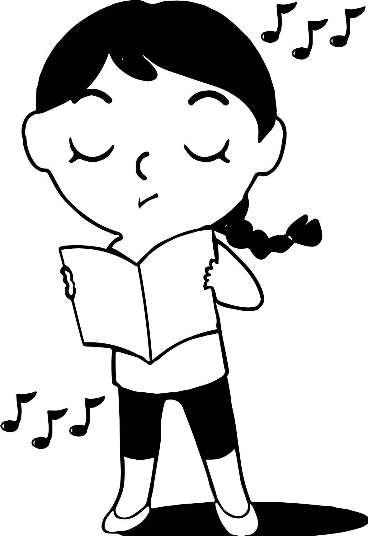 Illustration Of An Ethnic Girl Singing From A Song Book Coloring Page