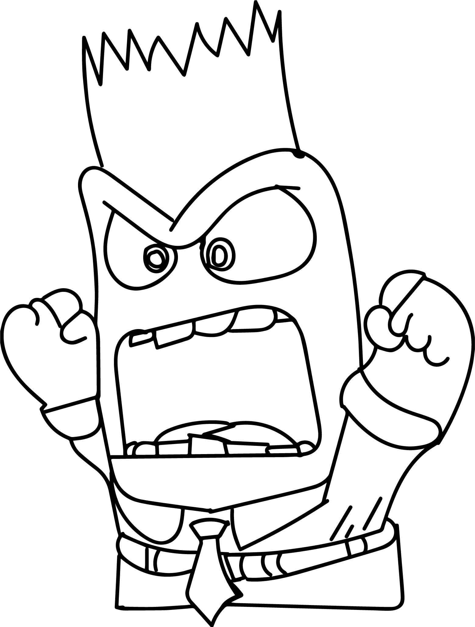 Inside out coloring pages riley - Inside Out Character Anger Face Coloring Page