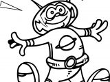 Jumping Space Alien Coloring Page