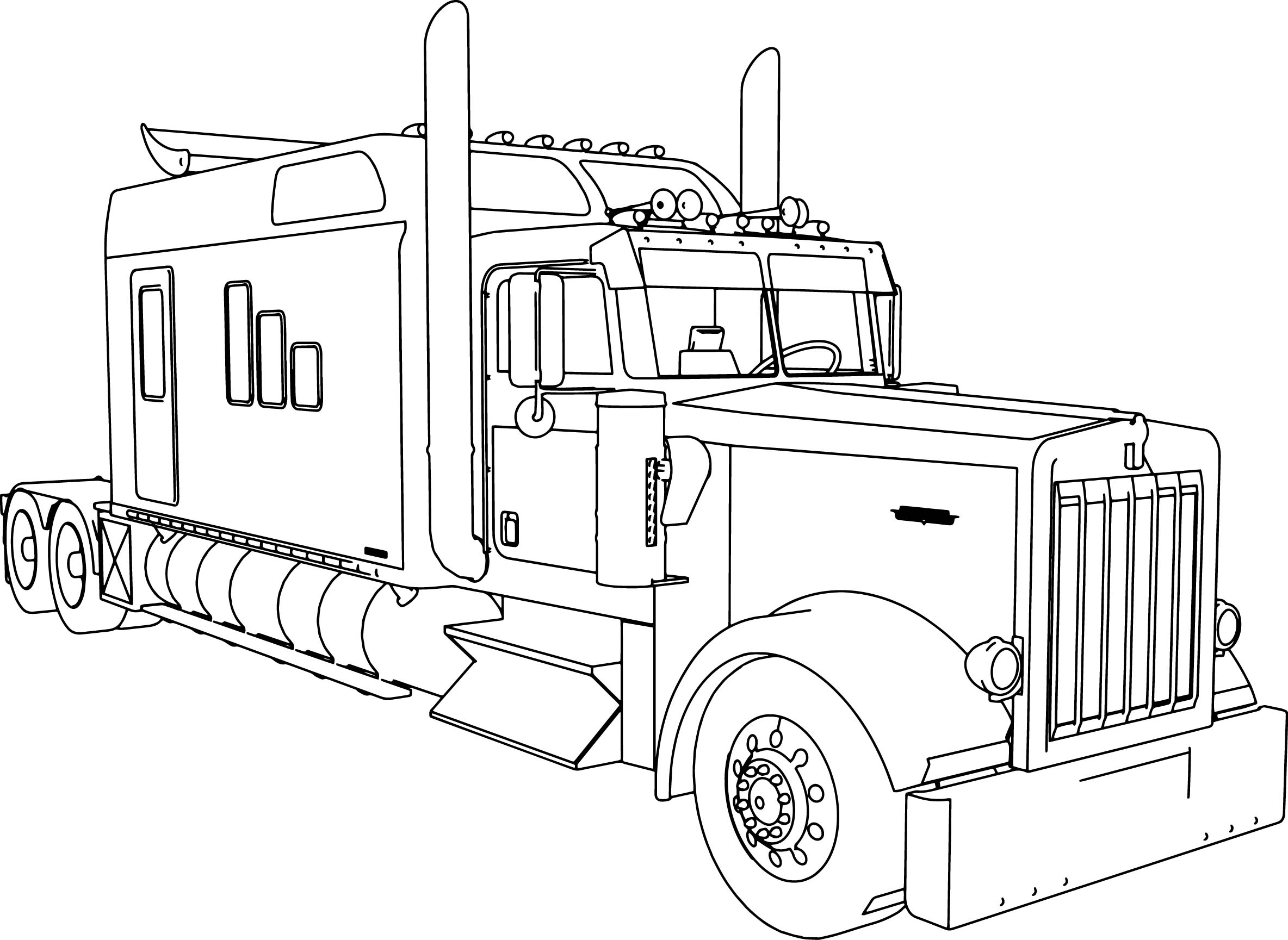 Uncategorized Coloring Pages Of Trucks And Trailers kenworth w900 custom m long trailer truck coloring page page