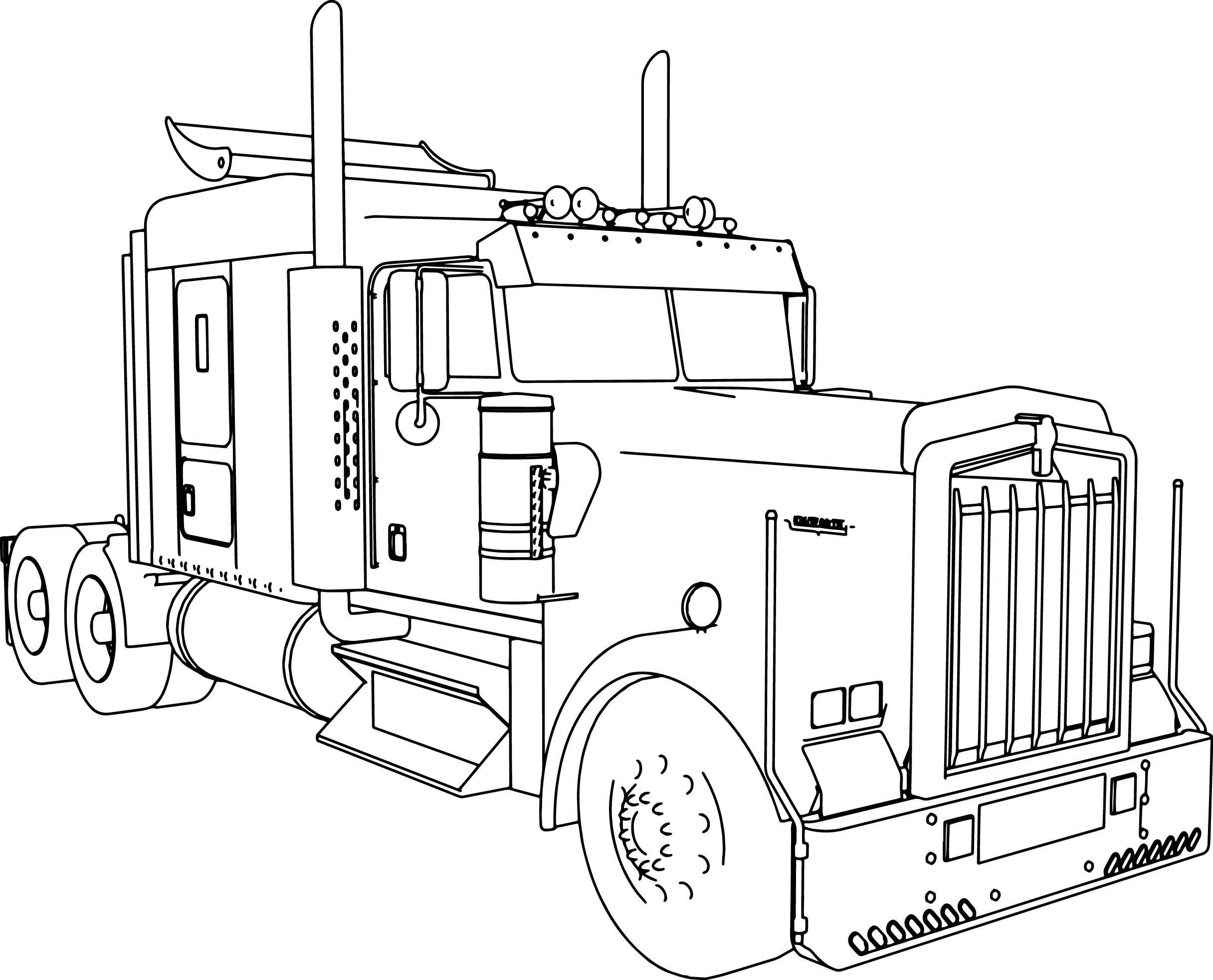 Kenworth w900 l long trailer truck coloring page for Free truck coloring pages