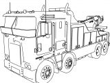 Kenworth Wrecker 8×4 Long Trailer Truck Coloring Page