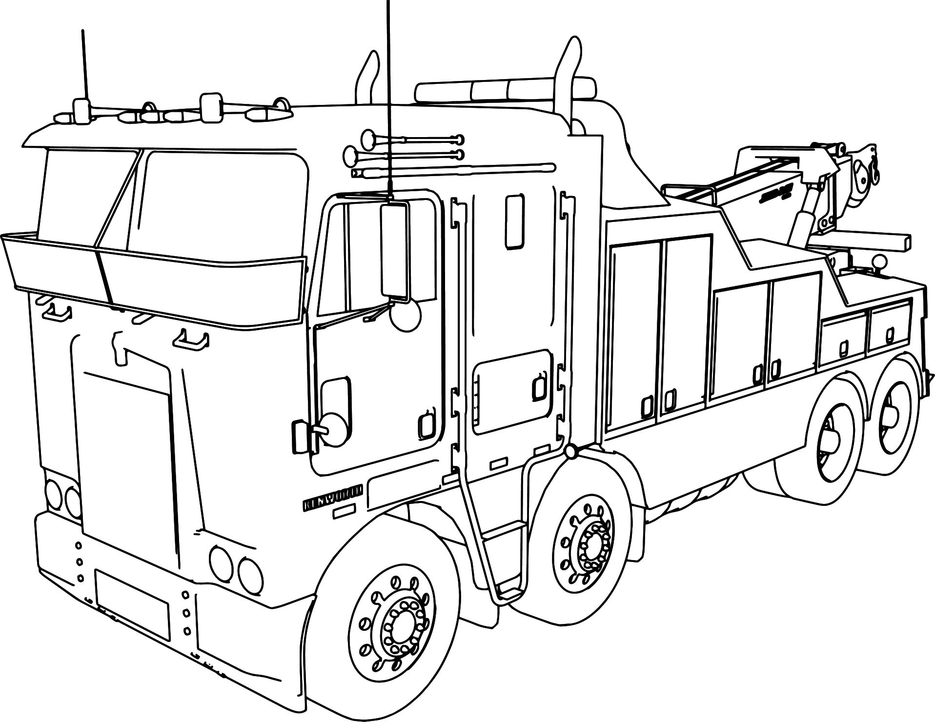 Uncategorized Coloring Pages Of Trucks And Trailers kenworth wrecker long trailer truck coloring page wecoloringpage page