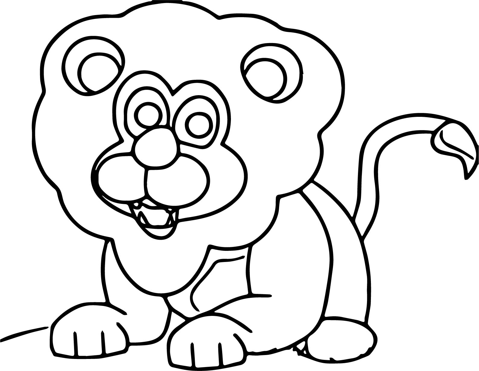 Lion Cute Animal Kingdom Coloring Page