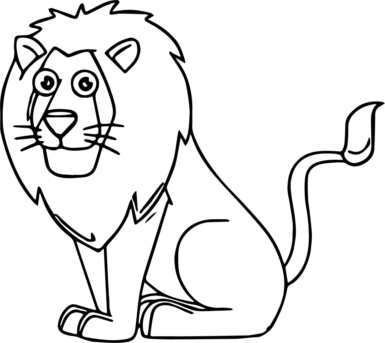 Lion Sitting Cartoon Animal Kingdom Coloring Page